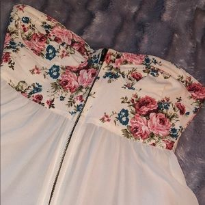 Tops - Sheer strapless white and flower print top